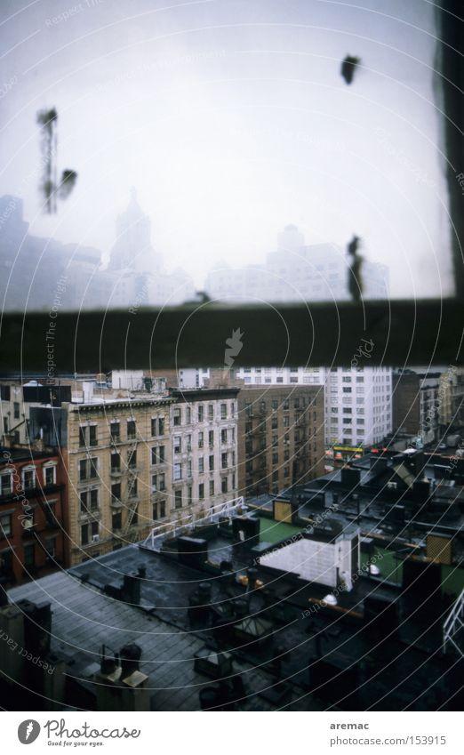 Low Budget Hotel Fenster Haus Stadt New York City Manhattan Amerika Blick Dach verfallen