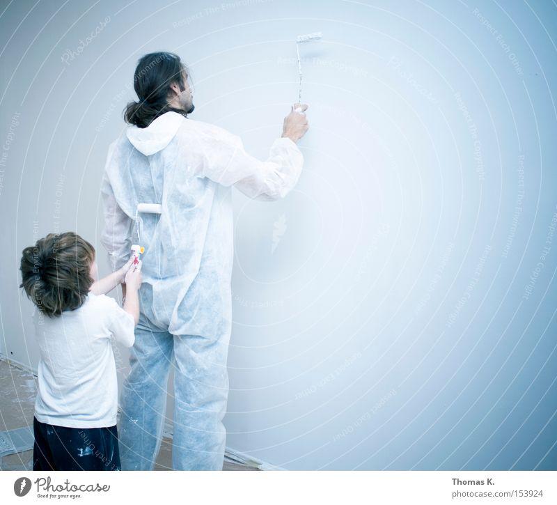 Darwinsches Malprinzip Kind Familie & Verwandtschaft Farbe Wand Eltern Farbstoff Gebäude streichen Vater Handwerk Gemälde Renovieren Farben und Lacke klecksen