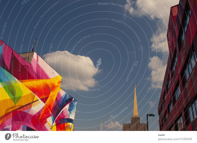 Druschba Stadt Architektur Wand Graffiti Stil Gebäude Kunst außergewöhnlich Fassade Design Freundschaft modern Kultur malerisch Stern (Symbol) historisch