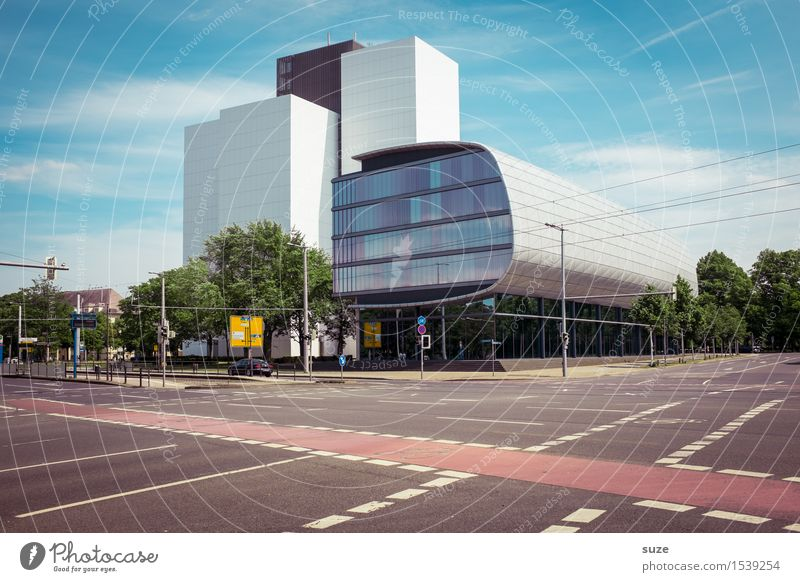 Verkehrsarm Natur Stadt Architektur Umwelt Straße Gebäude Fassade Design Arbeit & Erwerbstätigkeit Stadtleben Büro modern Hochhaus Platz Zukunft hoch