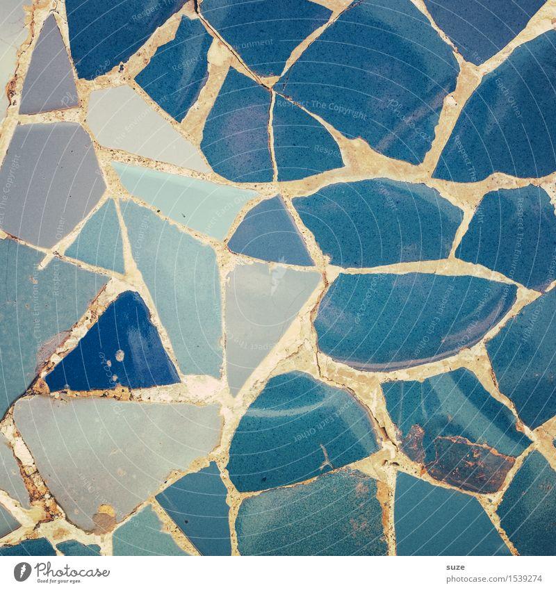 3 Farben Blau Stil Design Handarbeit Innenarchitektur Dekoration & Verzierung Kunst Kunstwerk Architektur Mauer Wand Sammlung Stein alt ästhetisch eckig