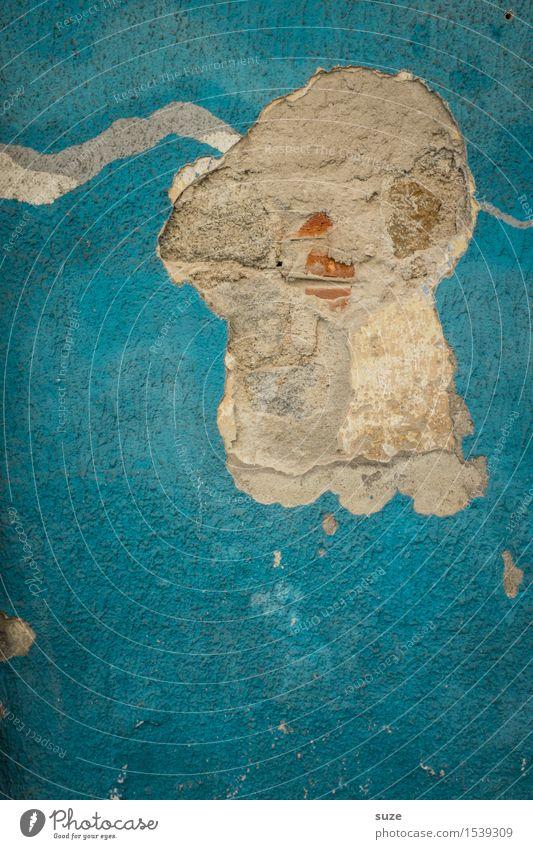 Das kleine Gespenst alt blau Wand Hintergrundbild Mauer Kunst außergewöhnlich trist Beton Vergänglichkeit Grafik u. Illustration kaputt Vergangenheit trocken
