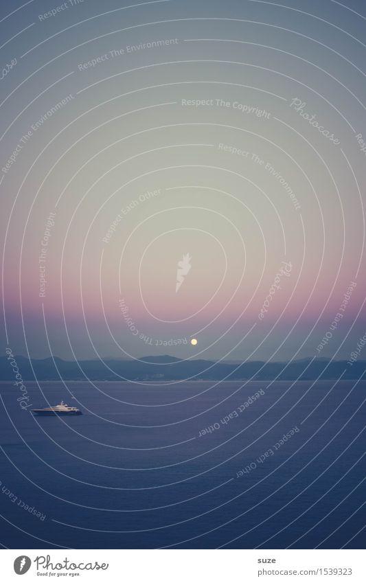Kleiner Mond ruhig Ferien & Urlaub & Reisen Ferne Freiheit Sommer Sommerurlaub Meer Berge u. Gebirge Natur Landschaft Wasser Himmel Wolkenloser Himmel Horizont