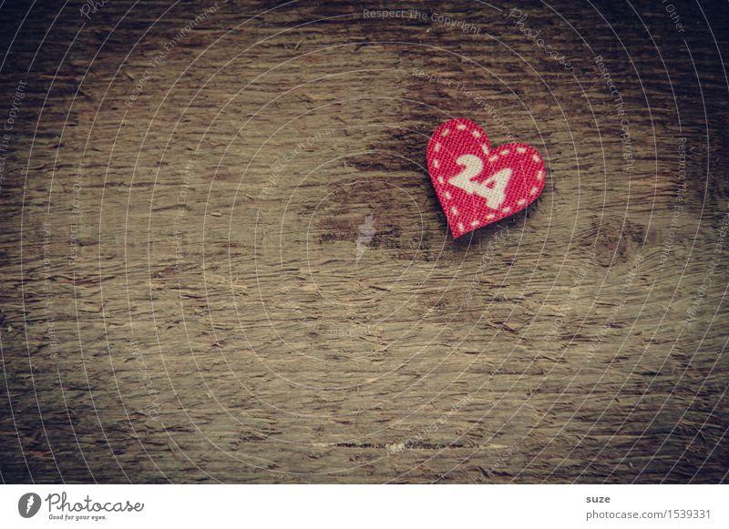 Bald Basteln Dekoration & Verzierung Weihnachten & Advent Kultur Holz Zeichen Ziffern & Zahlen Herz Liebe warten klein niedlich braun rot Vorfreude Kreativität