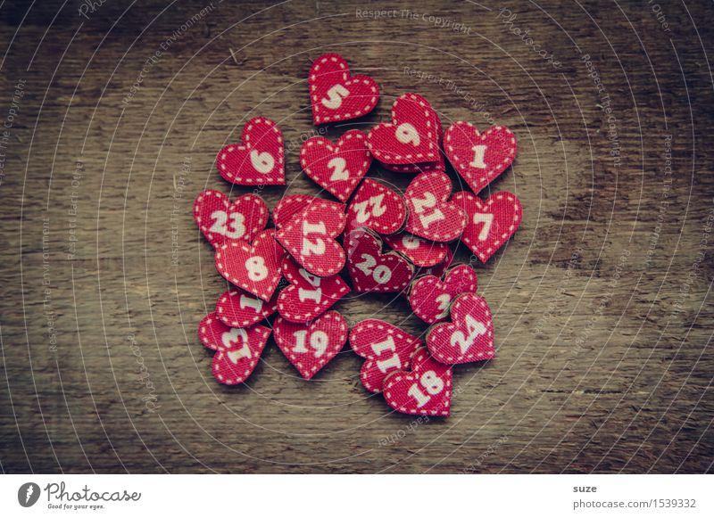 Chaostage Tradition Kultur Weihnachten & Advent Liebe Herz Zeichen rot braun Holz Kalender Ziffern & Zahlen zählen 24 Vorfreude warten Dekoration & Verzierung