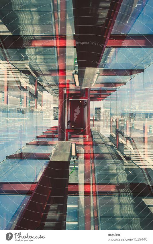 Experiment l Transparenz Menschenleer Flughafen Gebäude Architektur Mauer Wand Treppe Fenster modern blau braun rot türkis weiß Autofenster Säule Meer Kabel