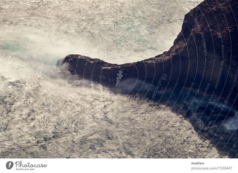 viril Natur Landschaft Wasser Felsen Wellen Küste Riff Meer nass natürlich stark braun türkis weiß Brandung Langzeitbelichtung Gischt Farbfoto Gedeckte Farben