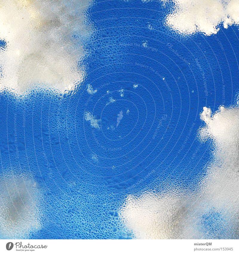 Himmelreich. Eis Fenster Wasser Wolken Winter kalt Schnee beschlagen Wassertropfen Tropfen nass Blick Aussicht Schönes Wetter Wintertag Vertrauen schön