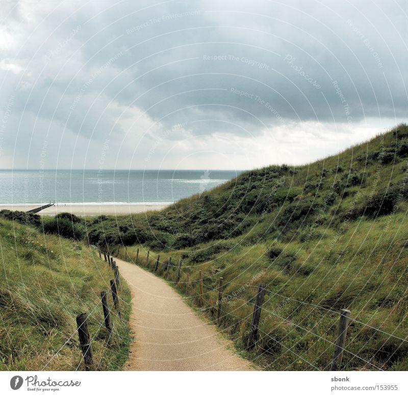 hier und jetzt Meer Strand Wolken Wege & Pfade See Regen Wetter Sturm Zaun Niederlande