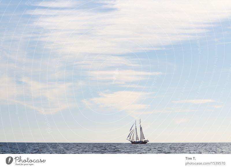 segeln Ostsee Schifffahrt Bootsfahrt Jacht Segelboot Segelschiff Abenteuer Freiheit Wolken Himmel Segeln Mast Horizont Farbfoto Außenaufnahme Menschenleer Tag