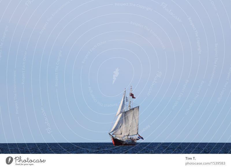 Frei sein Natur Schifffahrt Bootsfahrt Segelboot Segelschiff Gelassenheit Segeln Ostsee Meer Baltic Farbfoto Außenaufnahme Menschenleer Textfreiraum oben