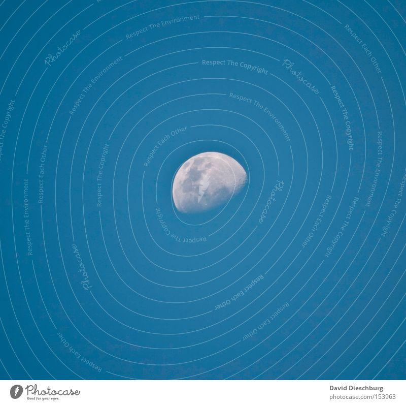 100% Mondlandung Abend Himmel blau weiß Halbmond rund Planet Weltall Kontrast Zoomeffekt abnehmend Winter Himmelskörper & Weltall Luftverkehr moon sky zunehmend