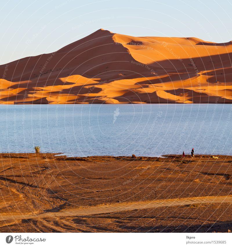 Marokko Sand und See Natur Ferien & Urlaub & Reisen Sonne Landschaft rot Einsamkeit gelb Wärme Abenteuer heiß Düne Afrika Dürre extrem