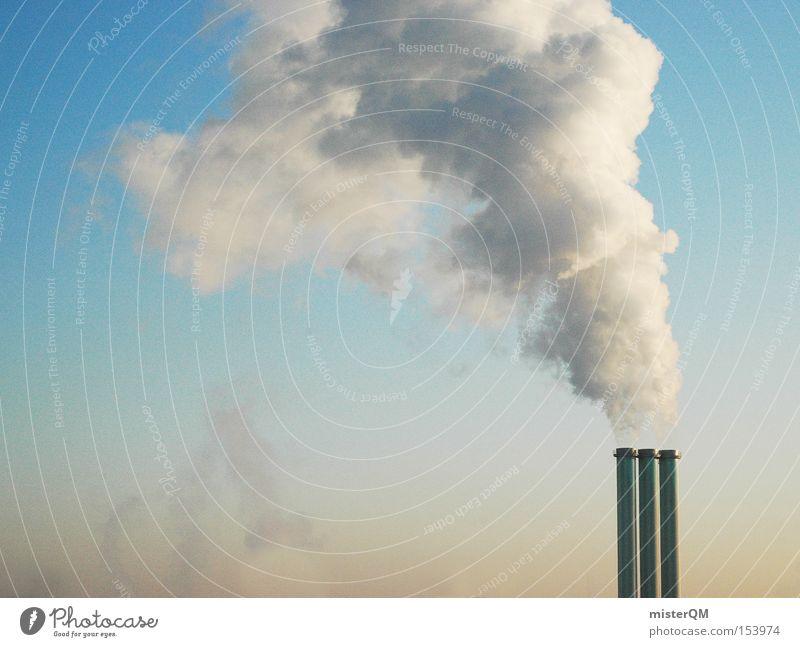 Globale Erwärmung I Rauch Abgas Wissenschaften Schornstein Klimawandel Treibhausgas Gewächshaus Umwelt Umweltschutz Winter Heizperiode Stromkraftwerke
