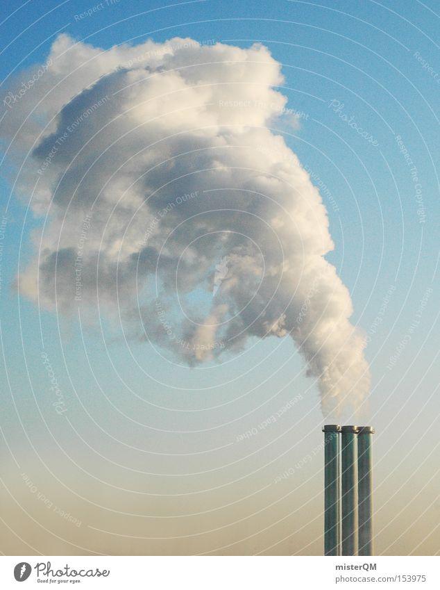 Globale Erwärmung II Rauch Abgas Schornstein Klimawandel Treibhausgas Gewächshaus Umwelt Umweltschutz Winter Heizperiode Stromkraftwerke Heizkraftwerk