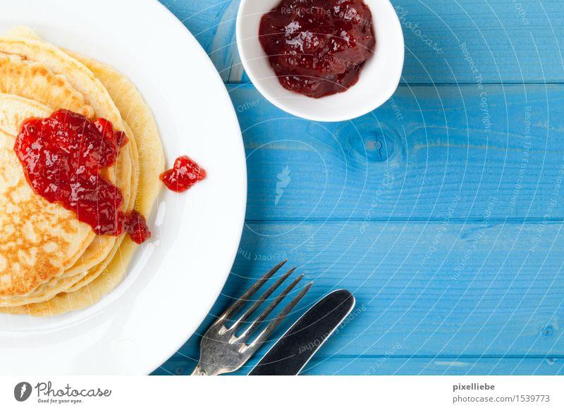 Pfannkuchen mit Konfitüre II blau Essen Holz Lebensmittel Wohnung Frucht Ernährung Tisch Kochen & Garen & Backen Küche lecker Gastronomie Süßwaren Übergewicht