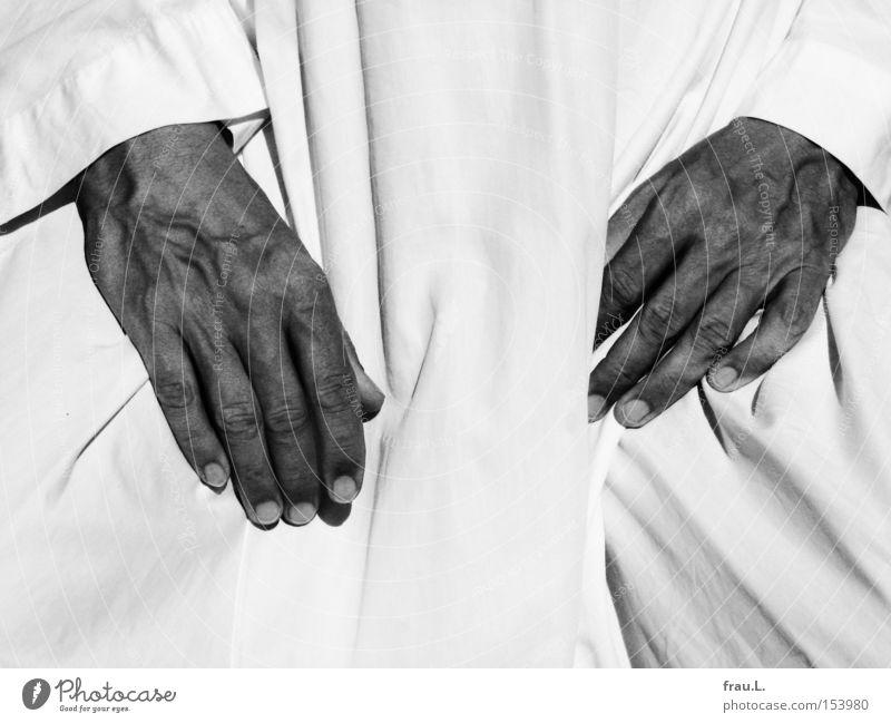 Stoff Mensch Mann Hand Sommer Wärme Bekleidung Kleid heiß kühlen luftig Arabien Baumwolle Naher und Mittlerer Osten Asien Tracht