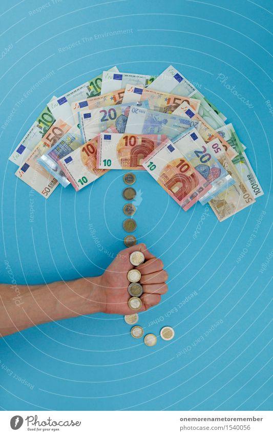 Euro-Rettungsschirm vor EU-Blau Kunst Kunstwerk Medien ästhetisch Schutz Surrealismus Reichtum Europa Eurozeichen Business Business District Europatag