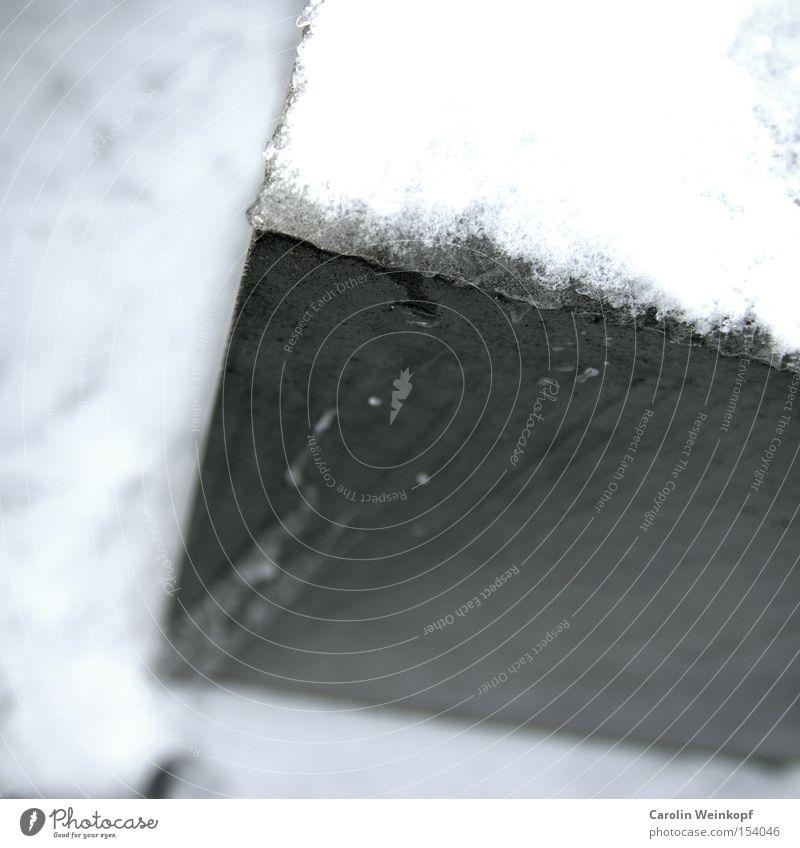 Eis am Stiel. Frost gefroren kalt Wasser Winter Schnee Abdruck