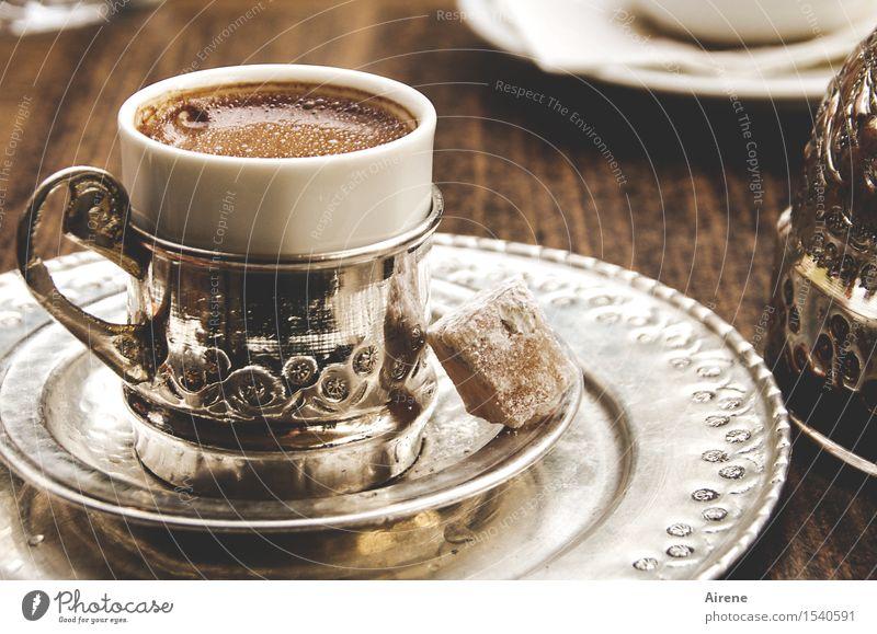 Turkish Delight weiß braun Metall Zufriedenheit Ernährung genießen Kultur süß Getränk Kaffee trinken lecker heiß Geschirr Reichtum Erfrischung