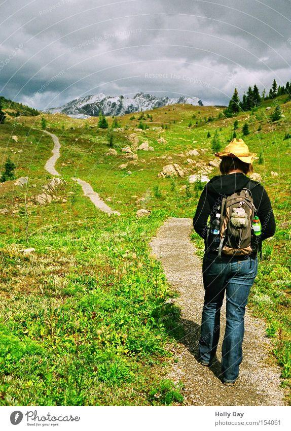 Schwerer Gang Freizeit & Hobby Berge u. Gebirge wandern Mensch Frau Erwachsene 1 Umwelt Landschaft Himmel Wolken Sonnenlicht Sommer Grünpflanze Wiese Felsen