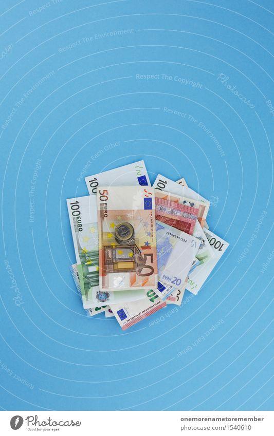 Häufchen Elend blau Kunst Business Design ästhetisch Europa Geld Geldinstitut graphisch Geldscheine Kunstwerk sparen Eurozeichen Geldmünzen Haufen