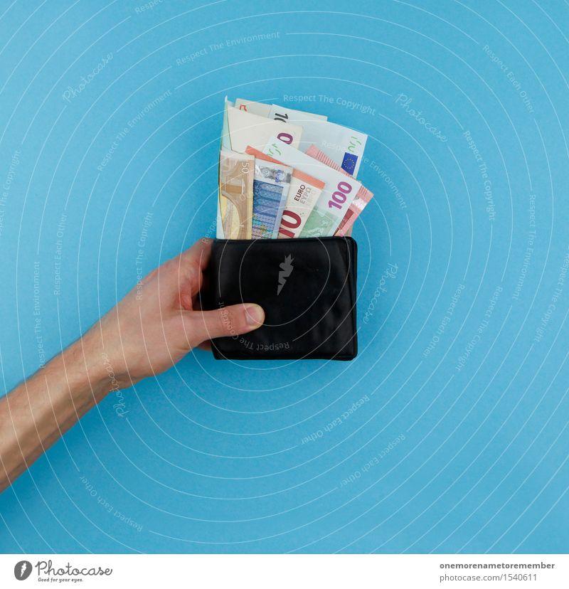 Kleingeld Kunst Kunstwerk ästhetisch Portemonnaie sparen kaufen blau Geldscheine Kapitalwirtschaft Kapitalismus Kapitalanlage geben Spende Geldmünzen Design