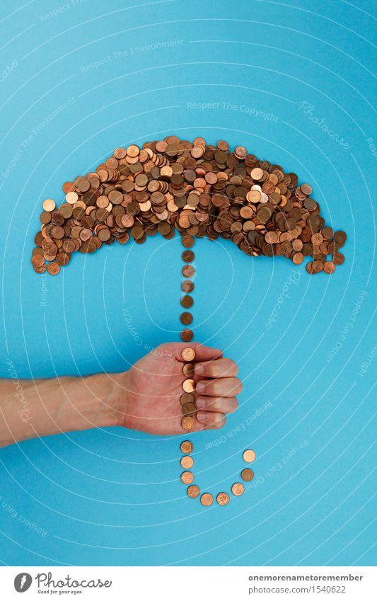 Finanzen im Griff Kunst Kunstwerk ästhetisch gebastelt Regenschirm Schirm Geldmünzen Münzenberg viele Collage Cent Euro Rettung Krise Krisenstimmung blau Kupfer