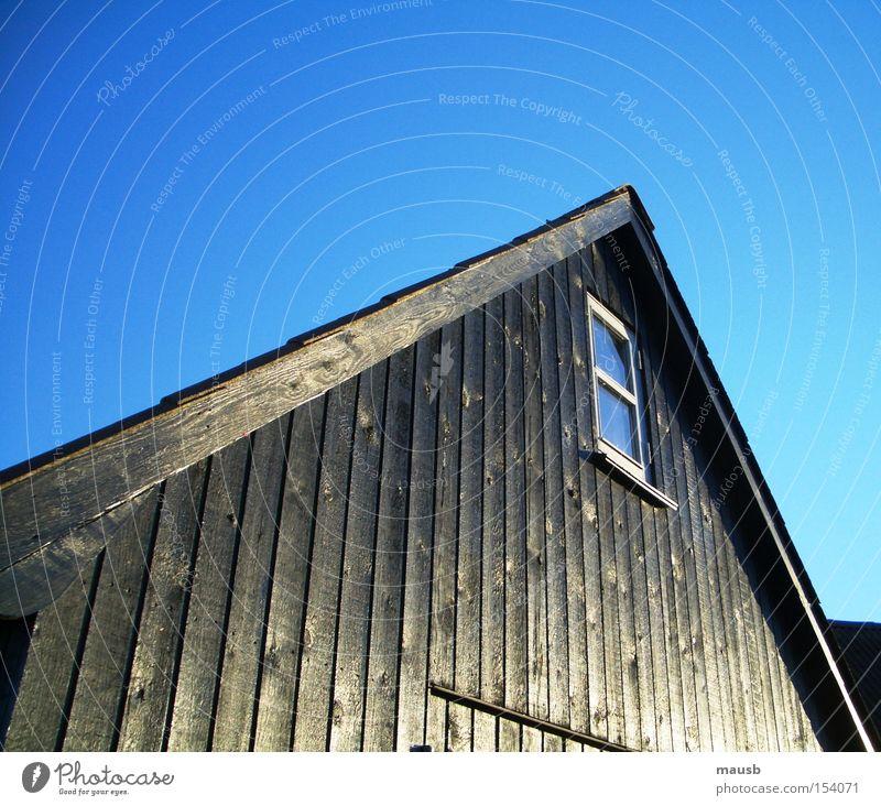warmes Holz trotz Frost Winter schwarz kalt Fenster Klarheit Blauer Himmel Bootshaus Ebenholz