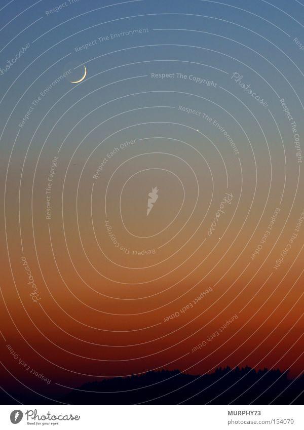 Mond und Sterne im Abendrot schön Himmel blau schwarz orange Abenddämmerung Sternenhimmel Himmelskörper & Weltall Venus Sichelmond