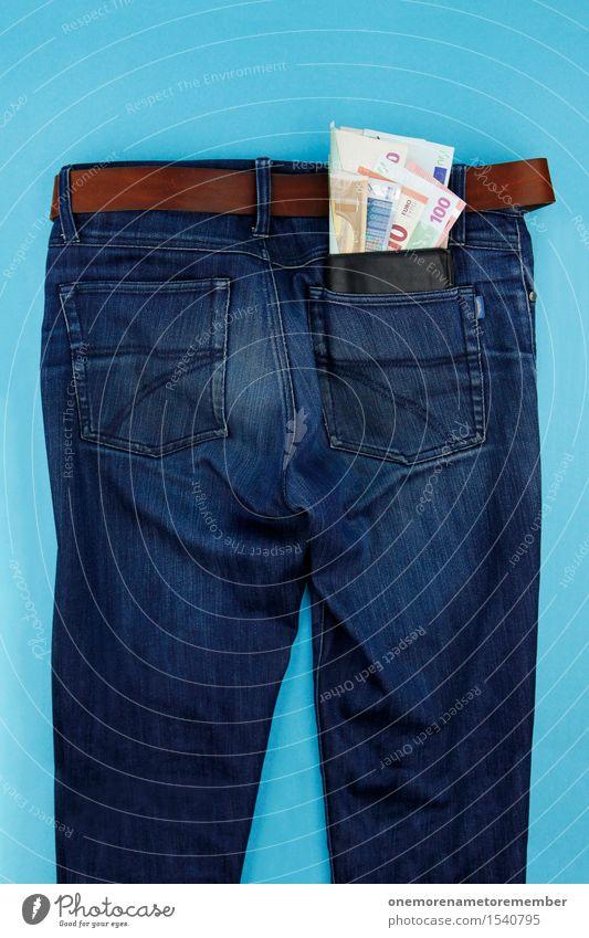 Taschengeld blau Kunst maskulin ästhetisch Geld viele Geldinstitut graphisch Hose Gesäß Jeanshose Geldscheine Kunstwerk sparen Jeansstoff Euro