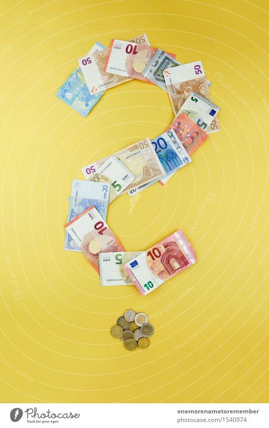Euro mit Fragezeichen Kunst Business ästhetisch Europa Symbole & Metaphern 5 Geldscheine 20 Kunstwerk sparen Eurozeichen Geldmünzen 10 50