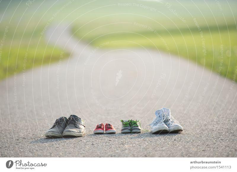 Familie - gemeinsamer Weg Glück Kindererziehung Eltern Erwachsene Familie & Verwandtschaft Partner Leben 4 Mensch Umwelt Natur Landschaft Sommer Wiese Feld