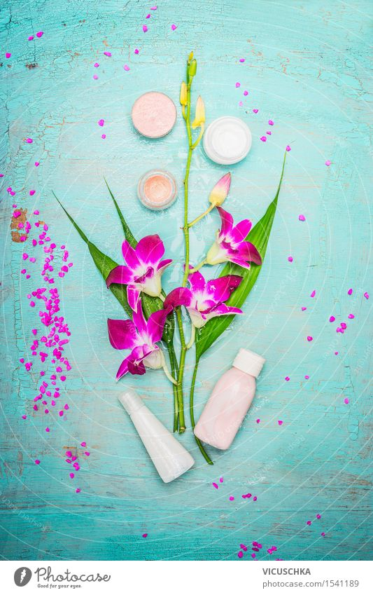 Spa oder Wellness mit Orchidee, Creme und Lotion Natur schön Blume Erholung Hintergrundbild Stil Gesundheit Holz rosa Design Körper Bad Wohlgefühl Körperpflege