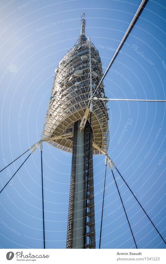 Fernsehturm Barcelona Design Ferien & Urlaub & Reisen Sommer Wolkenloser Himmel Schönes Wetter Turm Sehenswürdigkeit Wahrzeichen ästhetisch Zufriedenheit