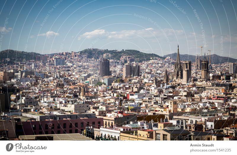 Panorama - Barcelona Himmel Ferien & Urlaub & Reisen Stadt Wolken Haus Ferne Umwelt Architektur Stil Lifestyle Stimmung Tourismus Idylle Hochhaus Schönes Wetter
