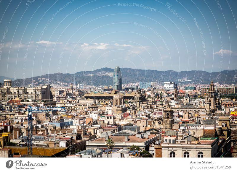 Panorama - Barcelona Himmel Natur Ferien & Urlaub & Reisen Stadt Wolken Ferne Umwelt Architektur Stil Lifestyle Stimmung Tourismus Park Idylle Hochhaus