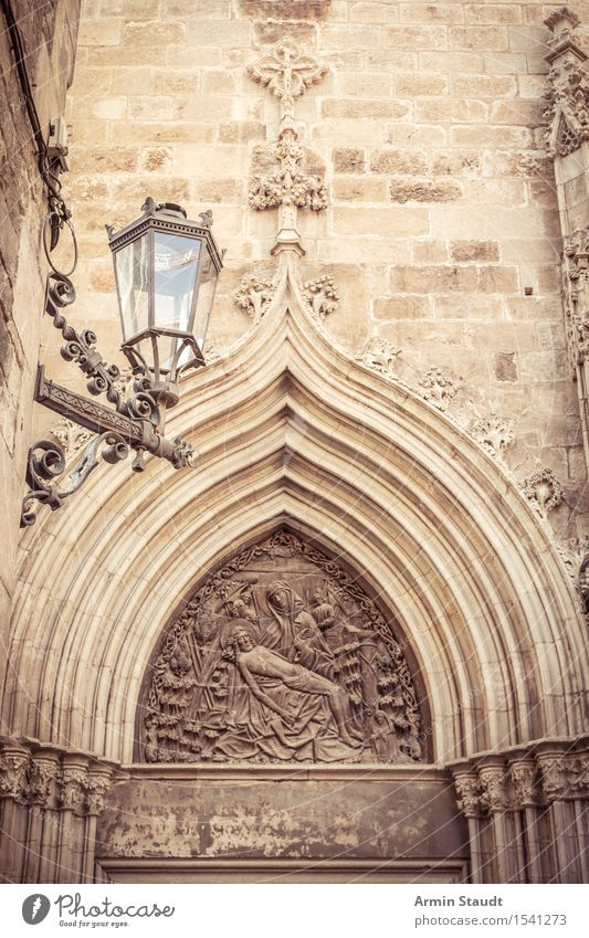 Pforte Skulptur Architektur Relief Stadtzentrum Altstadt Kirche Dom Palast Mauer Wand Tür Sehenswürdigkeit Ferien & Urlaub & Reisen Religion & Glaube Barcelona