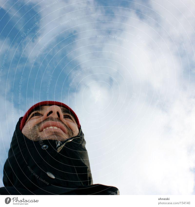 Zieht euch warm an Himmel kalt Frost Bekleidung Jacke Mütze Kapuze Winter Wolken Mann Gesicht frieren ohneski