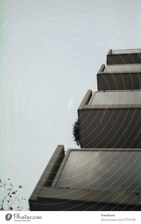quadratdiagonale kalt grau Beton Balkon Etage Geometrie Verschiedenheit Vielfältig Vorstadt Pelargonie verwaschen Blumenkasten