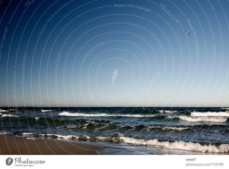 Meer sehen Strand Küste kalt Winter Sommer Himmel Wellen Strömung Ostsee Sand Ferien & Urlaub & Reisen Erholung Horizont Wasser schön