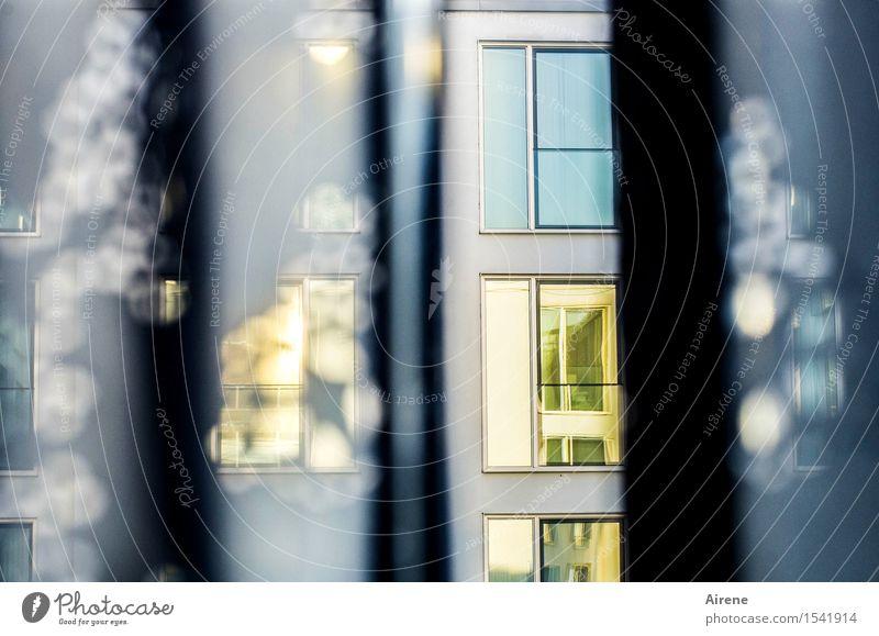 einen Blick riskieren blau Haus Fenster Innenarchitektur Gebäude grau Fassade Wohnung Raum Häusliches Leben Dekoration & Verzierung gold Hochhaus Stoff