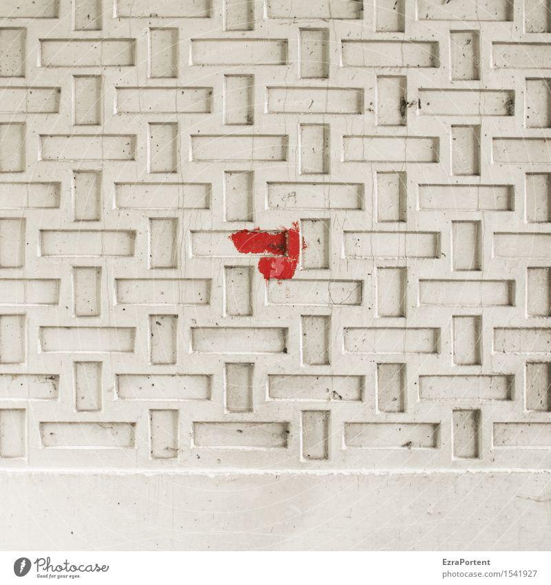 befleckt Haus Bauwerk Gebäude Mauer Wand Fassade Beton Zeichen Ornament Linie Streifen hell rot weiß Design Farbe Fleck Strukturen & Formen dreckig Farbfleck