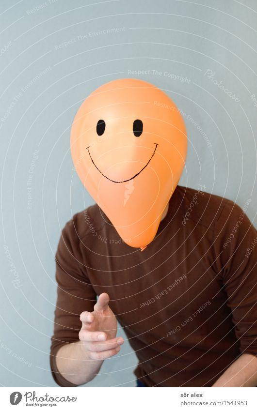 Remix   : ) Mensch maskulin Mann Erwachsene Oberkörper 30-45 Jahre T-Shirt Glatze Lächeln lachen braun orange Freude Glück Fröhlichkeit Zufriedenheit