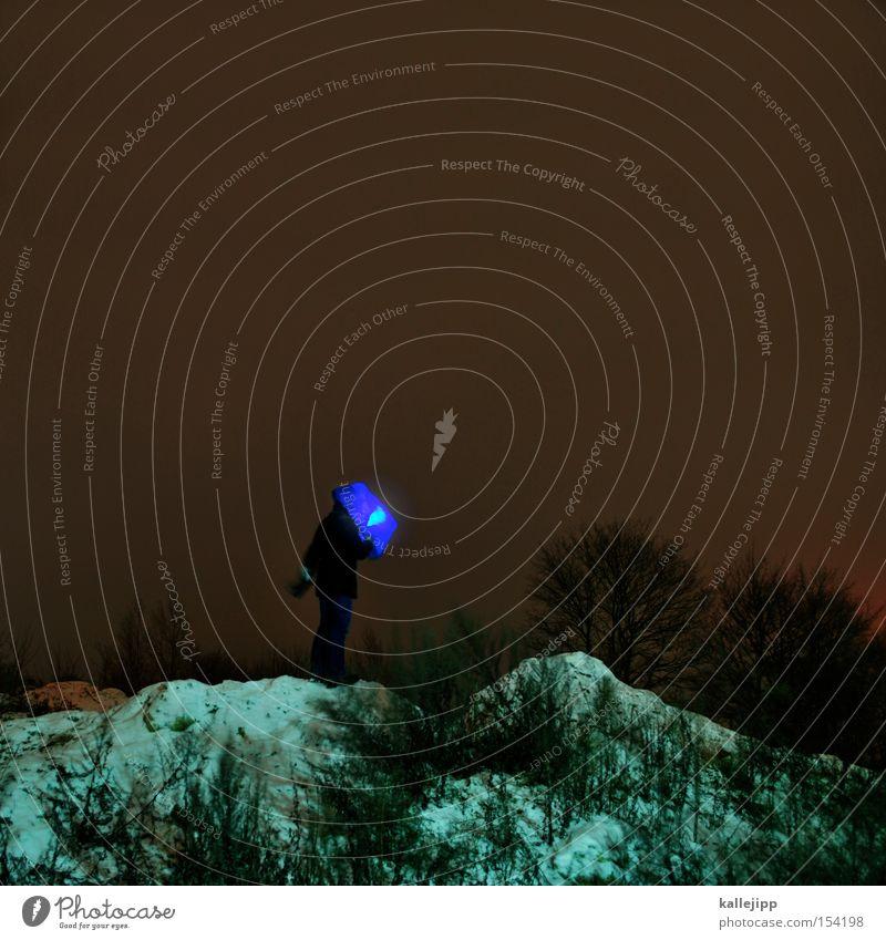 ein blaues wunder erleben Mensch Mann blau Baum Schnee Berge u. Gebirge Hügel Tüte Außerirdischer Lichtpunkt Rauschmittel Kopfbedeckung Mars Taschenlampe Himmelskörper & Weltall