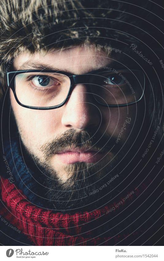winterfell Mensch maskulin Junger Mann Jugendliche Erwachsene Kopf Gesicht Bart 1 18-30 Jahre Mode Bekleidung Schutzbekleidung Fell Brille Schal Mütze Vollbart