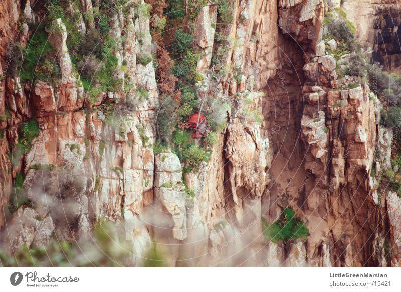 auf abwegen Korsika Pflanze Klippe Verkehr les calanches rote felsen rotes auto abwärts