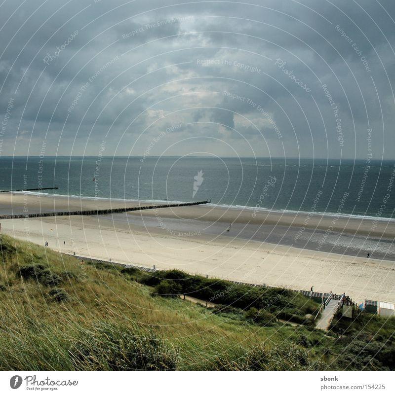 Hier etwas später Meer Strand Wolken Wege & Pfade See Regen Küste Wetter Sturm Zaun Niederlande