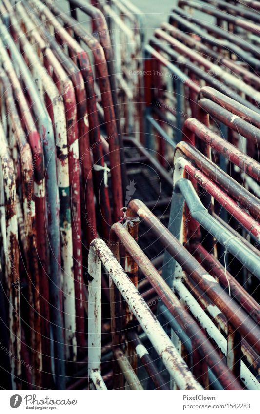 Absperrungen Arbeit & Erwerbstätigkeit Baustelle Industrie Kunst Mauer Wand Straßenverkehr Straßenkreuzung Wege & Pfade retro mehrfarbig Symmetrie Farbfoto