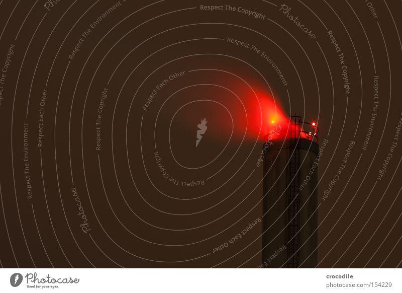 roter raucher rot Wolken dunkel Industrie Vergänglichkeit Rauch Abgas Leiter Schornstein